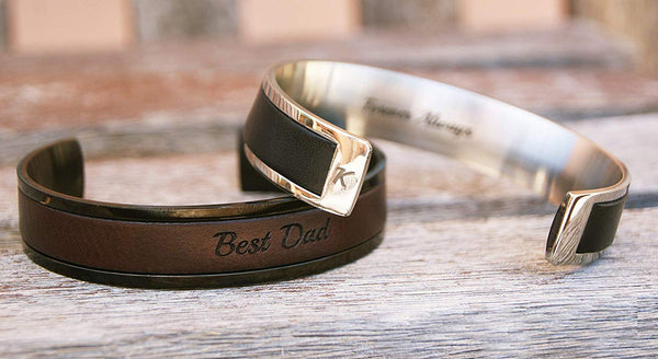 Personalized Gift For Dad Custom Leather Bracelet For Him Fathers Day Gift For Husband