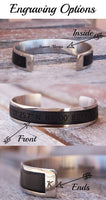 Men's Custom Leather Bracelet Personalized Husband 3rd Anniversary Fathers Day Gift