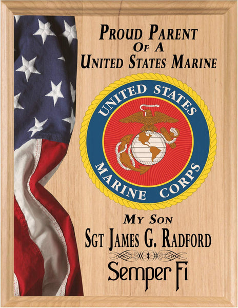 Proud Marine Parent Sign Plaque or Gift Official Personalized USMC Marines Custom for Proud Marine MOM or DAD