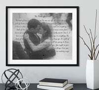 Song Lyrics Wall Decor with Your Photo and Lyrics, Black Frame Available, Wedding Song