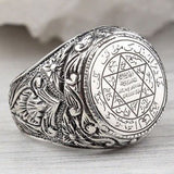 Men's Hip Hop Antique Silver Carved Arabic Pentagram Star Pattern Knuckle Rings Punk Jewelry Rock Cool Masculine Gifts Z4M396