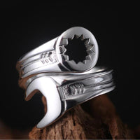 New Fashion Men's  Cool Biker Mechanic Wrench Ring Alloy Punk Style Rings for Man Anel Masculino Male Jewelry