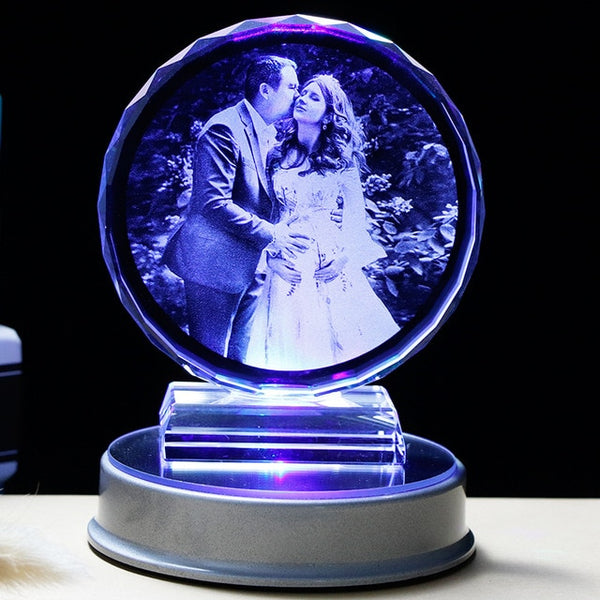 Customized K9 Crystal Photo Frame LED Base Laser Engraved Picture Home Decoration Personalized Wedding Photo Frame