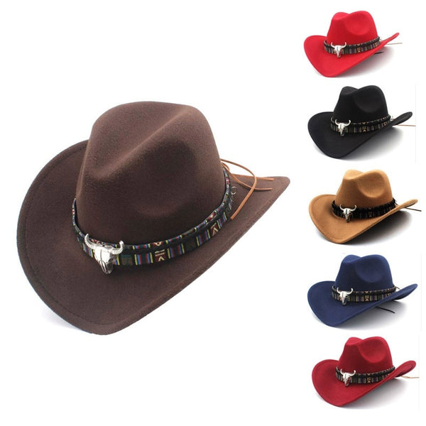 Ethnic Style Western Cowboy Hat Women\'s Wool Hat Jazz Hat Western Cowboy Hat Hot Selling