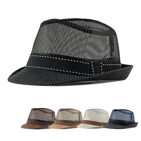2019 Summer Straw hat England Retro Men's Fedoras Top Jazz Plaid Hat Bowler Hats Cap Classic Version Chapeau Hats