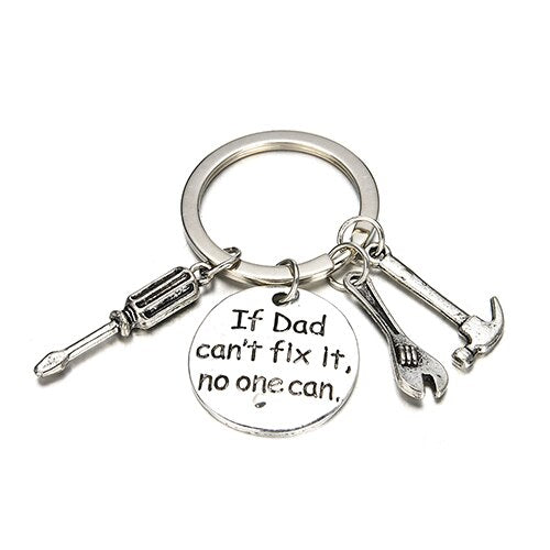 "Father Papa Hand Tools Pendant Keyring Keychain ""If Dad Can't Fix It No One Can"" letter Sculpture Best father's day gift"