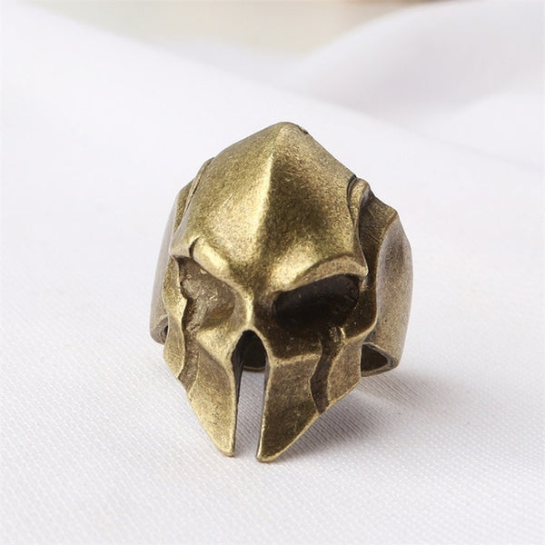 Creative Spartan Hero Helmet Mask Rings for Men Women Male Personality Retro Cool Biker Ring Jewelry Fashion Punk Rock Rap Rings