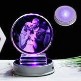 Customized Crystal Photo Frame Colorful LED Base Laser Engraved Picture Souvenir Gift Personalized Glass Wedding Photo Frame