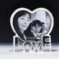 Custom Made Heart LOVE Laser Engraved Crystal Photo Frame Glass Album for Pictures Frame Wedding Decoration Friends Unusual Gift