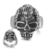 Johnny Hallyday vintage rock punk skull rings with date inside for men women stainless steel Hip Hop Cool males Finger ring