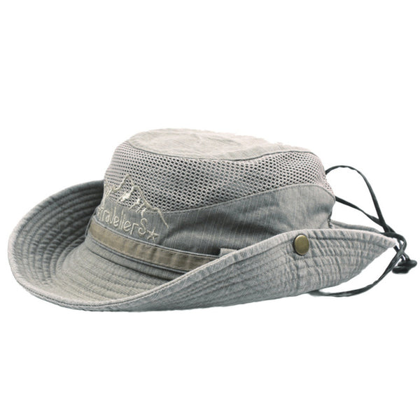 Men and women cowboy hat retro solid color windproof fishing hat wide side sun hat outdoor mesh cowboy hat berretto