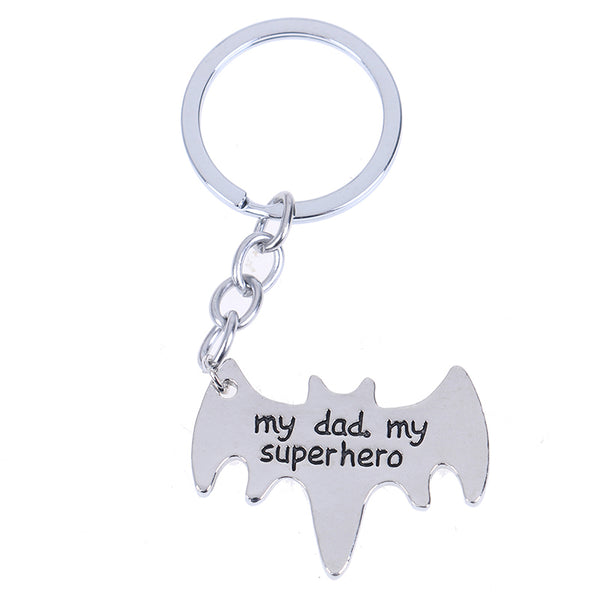 """My Dad My Superhero"" Bat Shape Keychain Daddy Key Rings Gift For Dad Fathers Day,Father Key Chain Cars Bags Accessories"