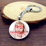 Personalized Custom Glass Pendant Keychain Photo of Your Baby Child Mom Dad Grandparent Loved One Gift for Family KeyRing Holder
