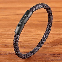 XQNI New Classic Style Men Leather Bracelet Simple Black Stainless Steel Button Neutral Accessories Hand-woven Jewelry Gifts