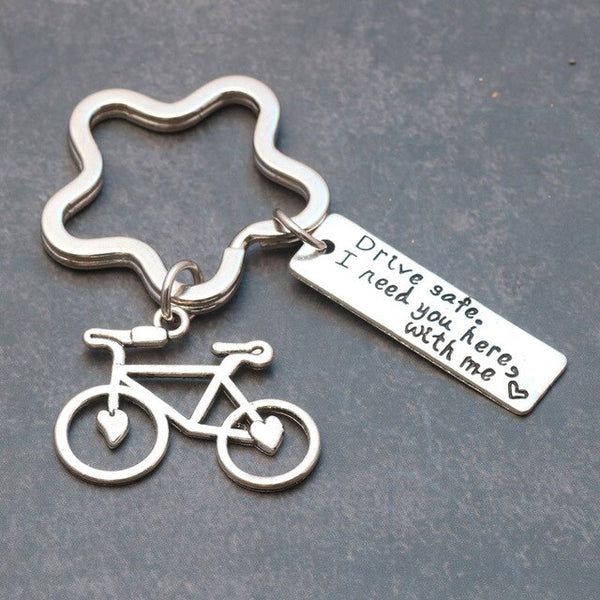 1 Pcs Drive Safe Bike Car Keychains Letter I need you here with me Trucker Keyring Gift For Husband Boyfriend Dad Valentines Day