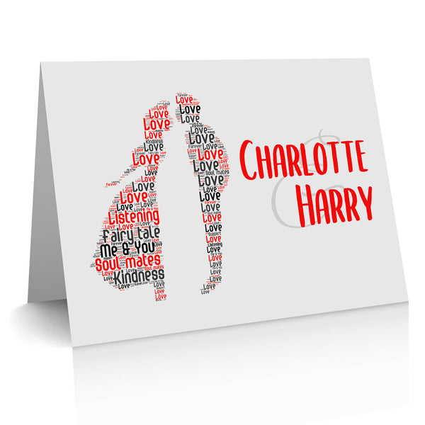 Anniversary Card For Couples Personalised Word Art For Him Her Husband Wife