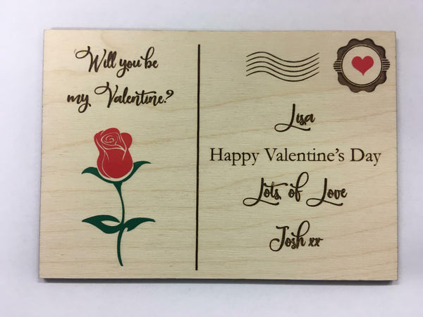 Personalised Wooden Postcard Valentine's Day Gift for her for him rose love