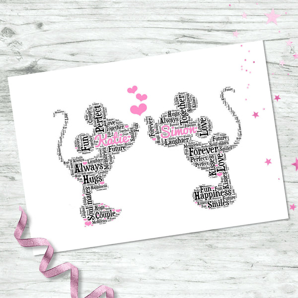 Personalised Mickey Minnie Print Valentines Engagement Couples Gifts For Him Her