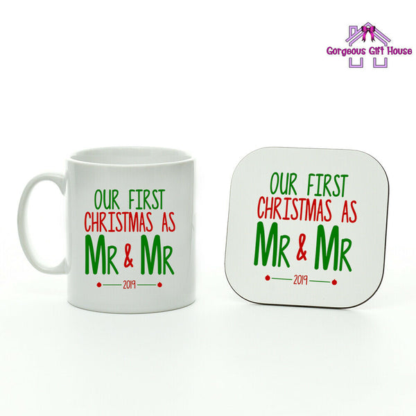 Gifts for Him, Our First Christmas As Mr & Mr 2019 Mug & Coaster, LGBQT gifts