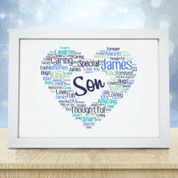 Personalised Heart Print Birthday Fathers Day Gifts For Him Boys Men Dad Daddy