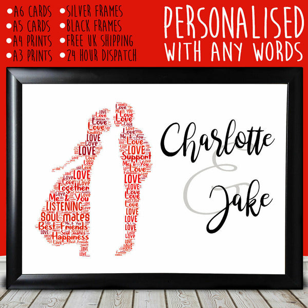 Personalised Kissing Cute Anniversary Gift For Him Her BoyFriend GirlFriend