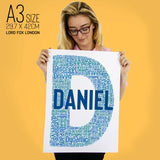 Initial Personalised Birthday Gifts Word Art For Him Child Any Letter D Gift