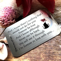 Gifts for him mens her valentines day mens Womens Love Romantic Engrave Card