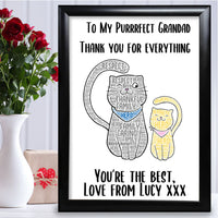 Grandad Gifts Personalised Word Art Birthday Keepsake For Him Grandpa Present