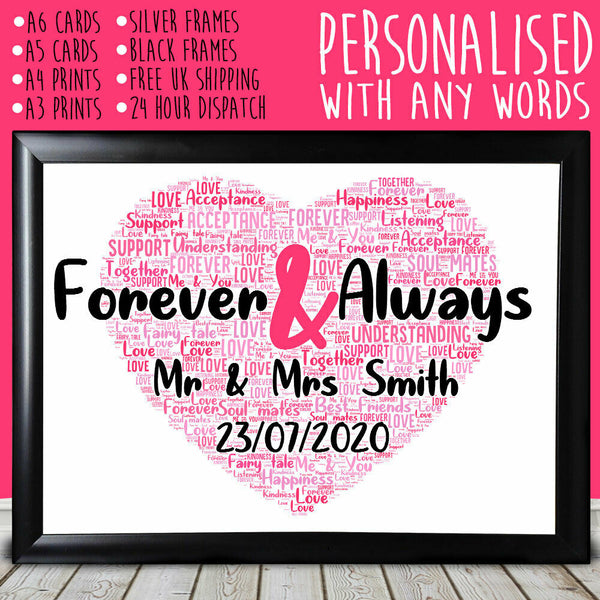 Personalised Forever Heart Anniversary Special Romantic Gift For Him Her 1st
