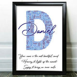 Personalised Birthday Card For Him Word Art Friend Grandad Initial Any Letter