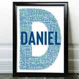 Personalised Birthday Gifts Any Letter Word Art For Him Friend Initial J Gift