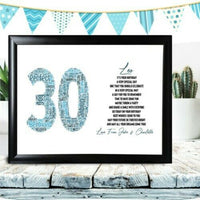First Birthday Gifts Personalised Word Art Poem Any Number For Him Son Boy 1st