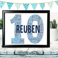 Personalised 60th Birthday Gifts For Him Word Art Grandad Any Name Number 70th
