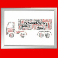 TRUCK WORD ART PERSONALISED GIFT FOR HIM ON FATHER'S DAY DRIVER DAD DADDY FATHER