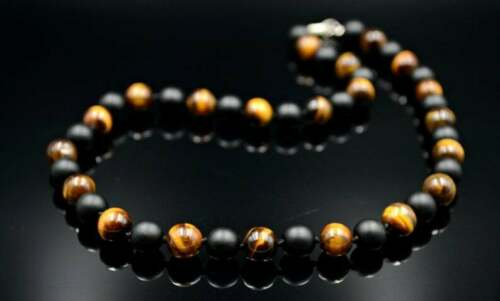 Men's Necklace Tiger's Eye Onyx Gemstone Handmade Knotted Necklace Gift for him
