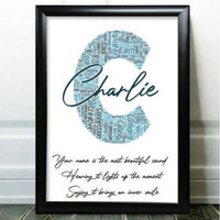 Personalised Initial Birthday Gifts Word Art For Him Any Letter Add Name Gift