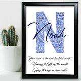 Initial Birthday Gifts For Him Dad Personalised Word Art Name Any Letter N Gift