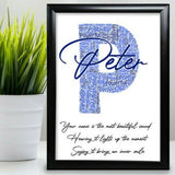 Personalised Birthday Gift For Him Daddy Uncle Brother Word Art Any Letter Print