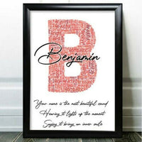 Personalised Name Word Art Initial Birthday Gifts For Him Dad Any Letter U Gift