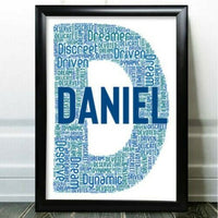 Personalised Birthday Gifts Initial Word Art For Him Boy Son Any Letter U Gift