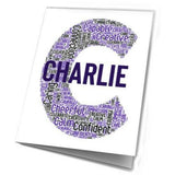 Birthday Card Personalised For Him Initial Word Art Any Letter Grandad Uncle Dad