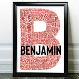 Personalised Word Art Gifts Birthday For Him Friend Initial Any Letter W Gift