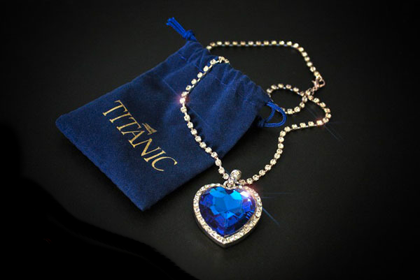 Titanic Blue Heart of the Ocean Necklace, Royal Princess Diana Jewelry
