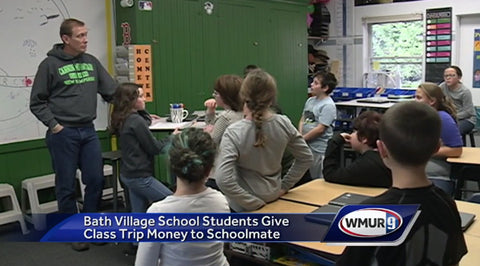 Fifth and sixth graders discuss school trip money donations to school mate