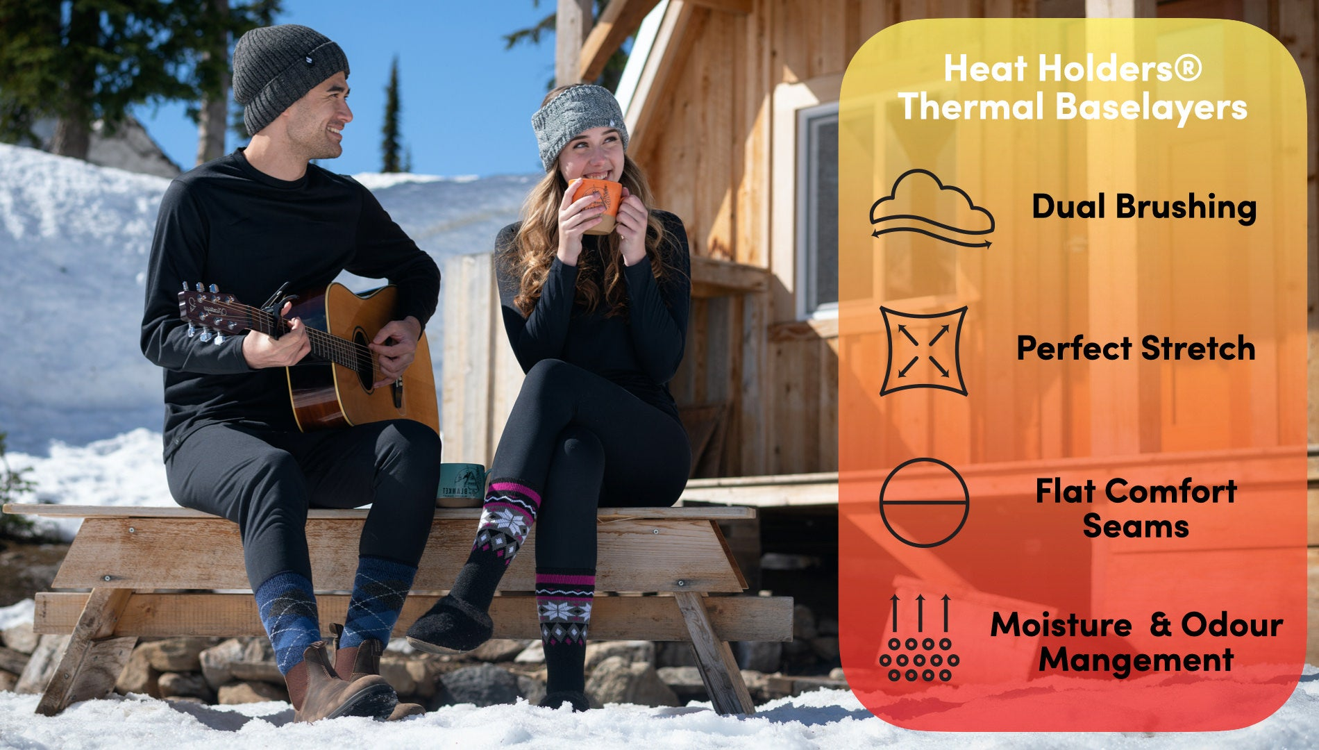 Heat Holders base layer features - dual brushing, perfect stretch, flat comfort seams, and moisture & odor management.