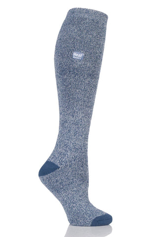 Ladies Twist Long LITE socks - Denim/Cream