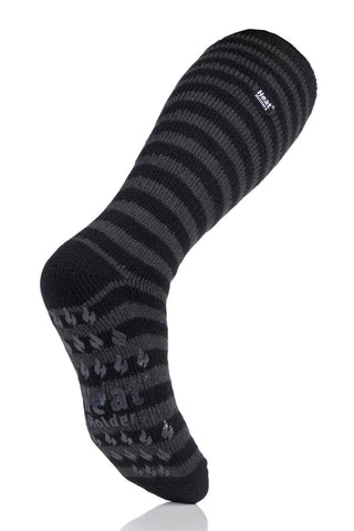 Men's Twist Long Stripe Slipper Socks - Black