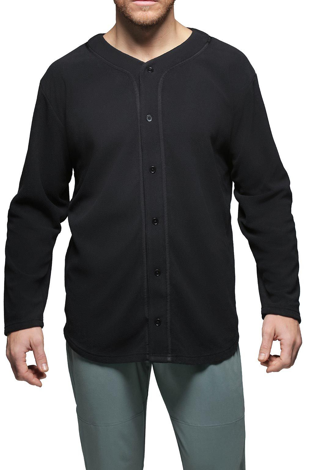 Men's Button Front Shirt Loungewear - Black