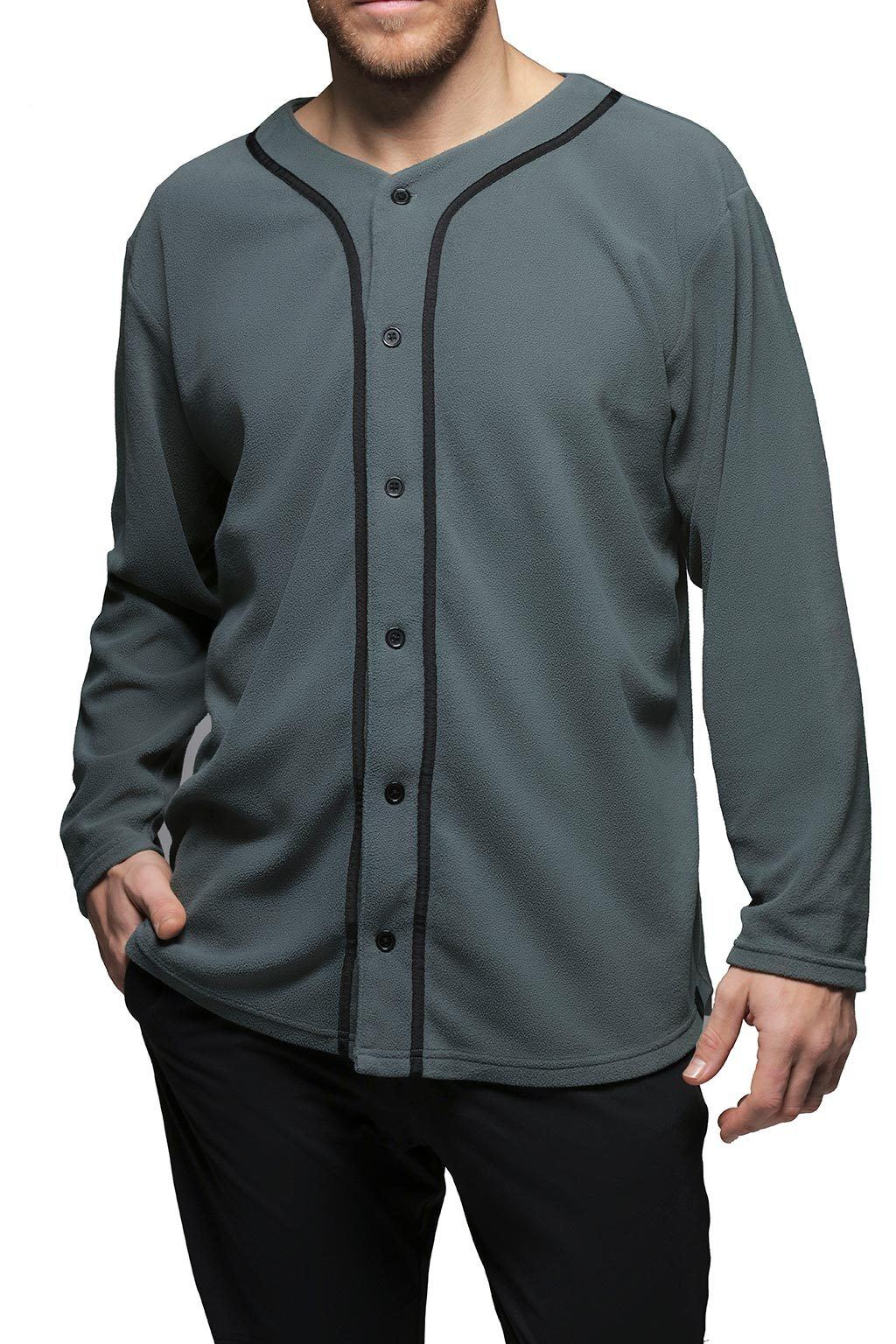 Men's Button Front Shirt Loungewear - Graphite