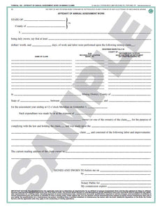 Affidavit of Annual Assessment Work (Oregon) #189
